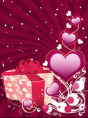 Valentine background with gift box — Stock Photo