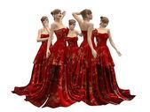 Schöne frau im roten kleid — Stockfoto