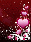 Pink hearts and floral — Stock Photo