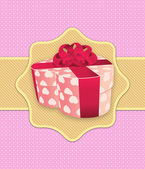 Pink holiday background with gift box — Stock Photo