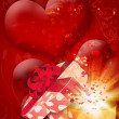 Card with heart shaped box — Stock Photo