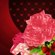 Roses and gift box lovely background — Stock Photo