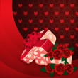 Stock Photo: Roses and gift box lovely background