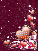 Red hearts and floral — Stock Photo