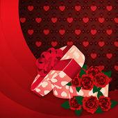 Roses et cadeau boîte fond belle — Photo
