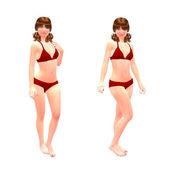 3d dívka v červené bikini — Stock fotografie