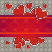 Hearts on vintage background — Stock Photo