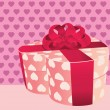 Stock Vector: Heart shaped pink gift box