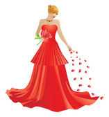 Blonde woman in red dress — Stock Vector