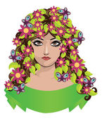 Girl with flowers and butterflies — Stock Vector