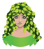 Girl with green leaves — Stock Vector