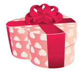 Heart shaped pink gift box — Stock Vector