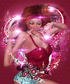 Abstract valentine music girl — Stock Photo