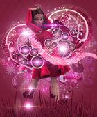 Valentine music girl in pink dress — Stock Photo