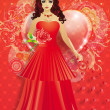 Lady in red dress with hearts - Stock Photo