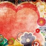 cartão de dia dos namorados grunge com corações — Foto Stock