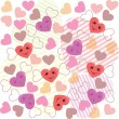 Stock Vector: Cute hearts pattern