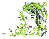 Girl with floral hair — Vector de stock