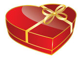 Red heart shaped gift box — Stock Vector