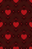 Red hearts pattern on dark background — Stock Vector