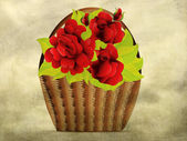 Grunge red roses in basket — Stock Photo