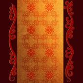 Fondo oro con ornamenti floreali — Foto Stock