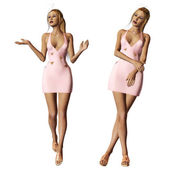 Blonde in pink dress — Stock Photo
