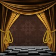 Vintage background with gold curtains — Stock Photo #20422687