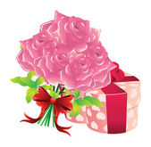 Roses and gift box — Stock Vector