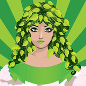 Spring girl with green leaves — Stock Vector