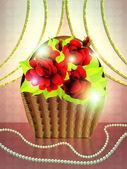 Basket of roses on holiday background — Stock Photo