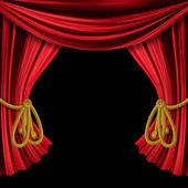 Opened curtains on black background — Stock Photo