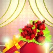 Holiday gift box with roses — Stock Photo