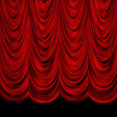 Decoretive red curtains — Stock Photo