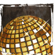 Grunge golden disco ball - Stock Photo