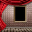 Room with red curtains and frame — Stockfoto #21546479