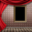 Foto Stock: Room with red curtains and frame