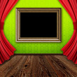 Room with red curtains and frame — Stock Photo