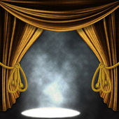 Stage with gold curatins and spotlights — Stock Photo