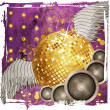 Grunge gold disco ball with wings — Stock Photo