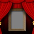 Red curtain room with wooden frame — Stock Photo #21606273