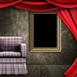 图库照片: Room with armchair, curtains and frame