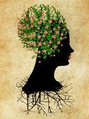 Grunge rosa blomma på huvud — Stockfoto