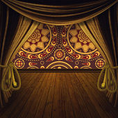 Stage with golden curtains — Stock Photo