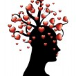 Tree of hearts on head — Stock Vector