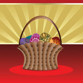 Easter card with basket of eggs — Stock Vector