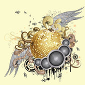Gold disco ball with wings — Stock Vector