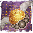 Grunge gold disco ball with wings — Stock Photo #21701203