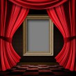 Red curtain room with wooden frame — Stock Photo