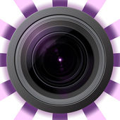 Camera lens with violet flare — Stock Photo